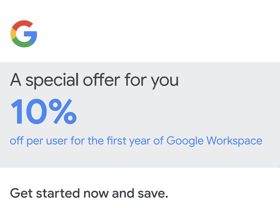 10% off Google Workspace coupon code